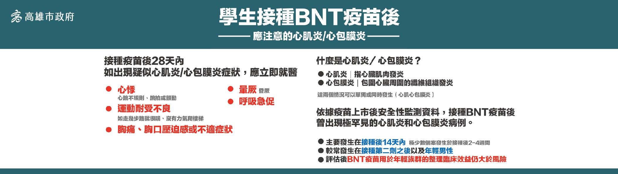 學生接種BNT疫苗後注意事項