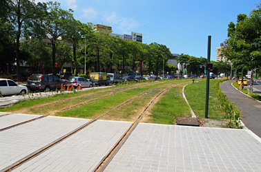 Grass planting and landscape beautification of ground-level LRT tracks and surrounding areas